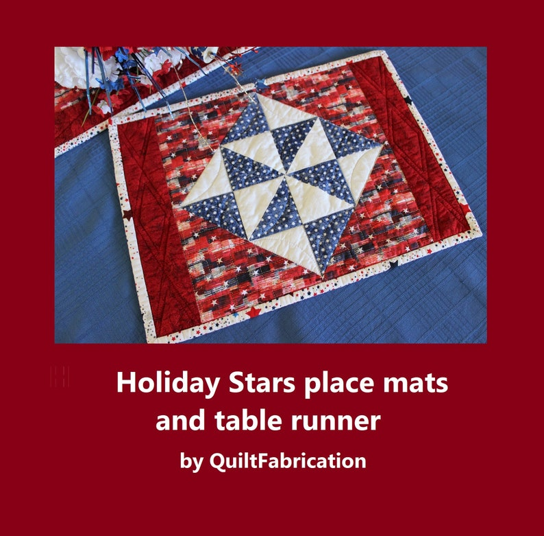 Holiday Stars Placemat Table Runner Quilt Pattern Home image 0