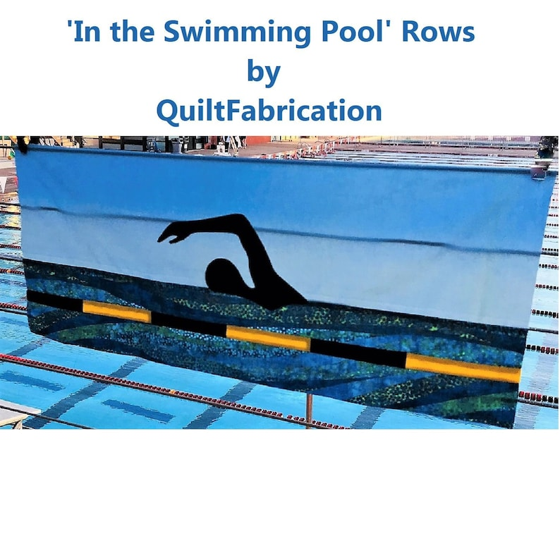 Swimming Pool Swimmer Silhouettes Quilt Row Swim Team Row image 0