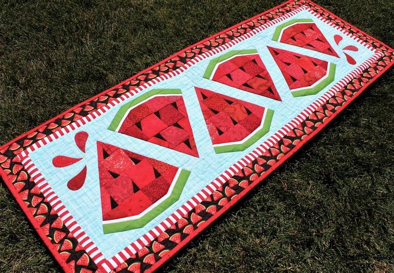 Watermelon Twist Table Runner PDF Quilt Pattern Watermelon image 0