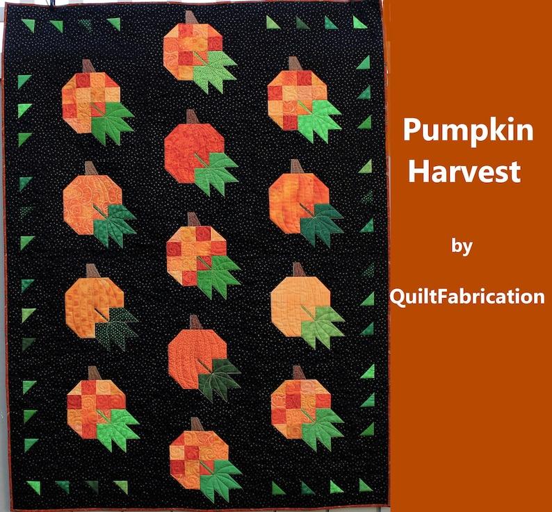 Pumpkin Harvest Lap Quilt Scrap Pumpkins Leaves Fall Quilt image 0