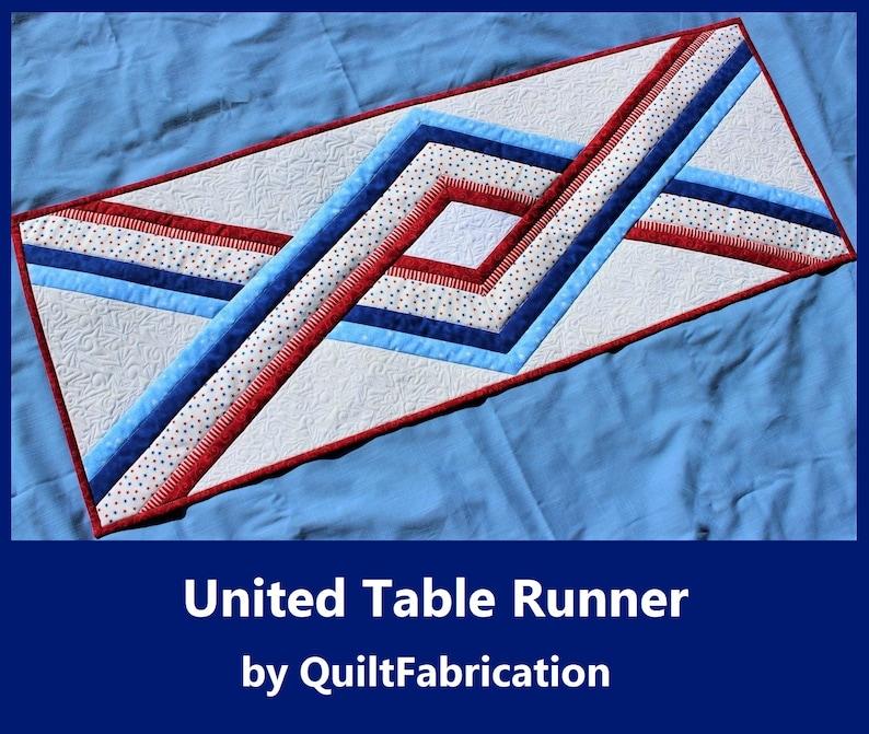 United Table Runner Easy Quilt Pattern Beginner Pattern image 0