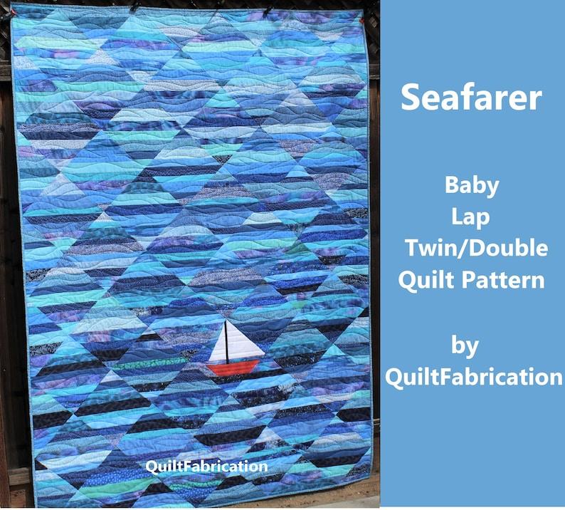 Seafarer Quilt Pattern Nautical Sailboat Easy Scrap Quilt image 0