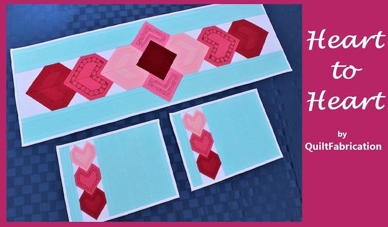 Valentine Table Runner Heart to Heart Heart Table Runner image 0