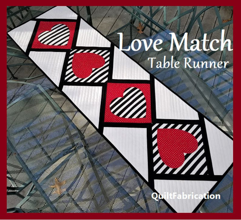 Love Match Modern Hearts Table Runner Quilt Pattern PDF image 0