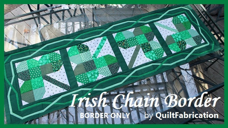 Irish Chain Border Quilt Pattern Table Runner St Patricks image 0