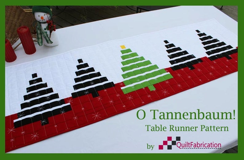 O Tannenbaum Christmas Tree Table Runner PDF Quilt Pattern image 0