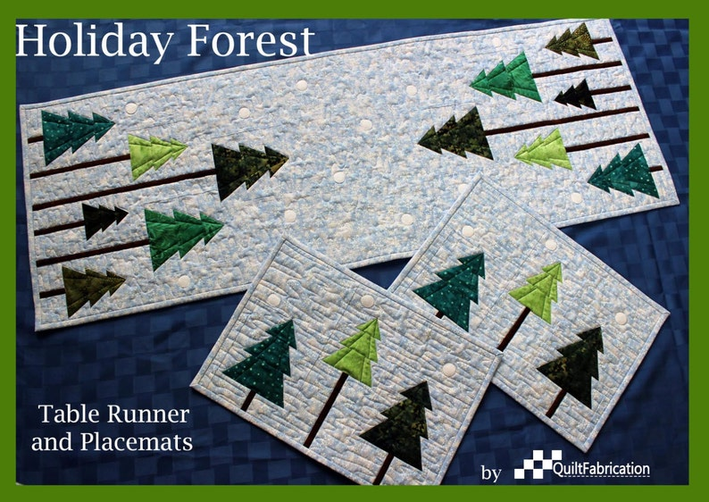 Holiday Forest Table Runner Placemats Christmas Runner image 0