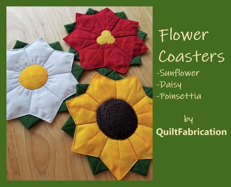 Flower Coasters Dresden Plate Sunflower Daisy Poinsettia image 0