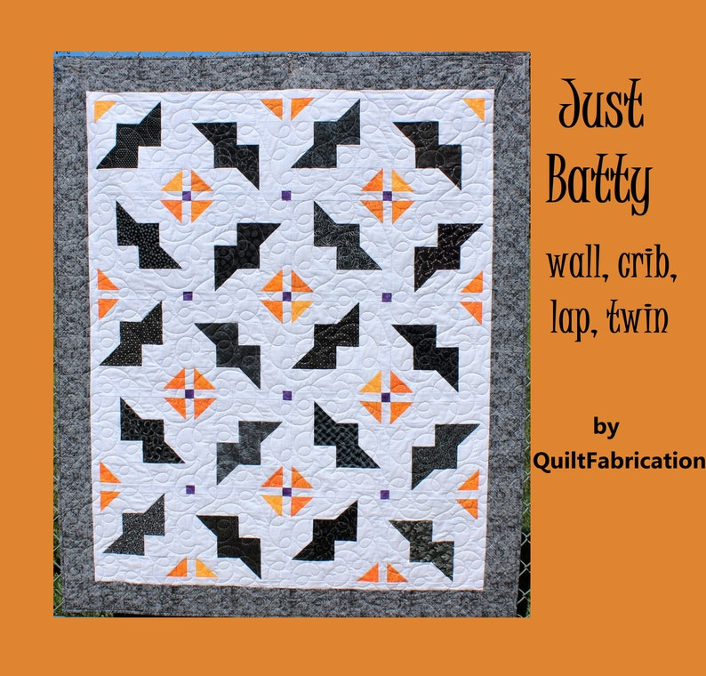 Just Batty Halloween Quilt Pattern Wall Crib Lap Twin image 0