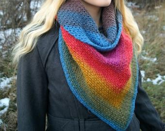Triangle Scarf; Triangle Shawl; Crochet Scarf; Crochet Triangle Scarf; Crochet Triangle Shawl; Rainbow Shawl; Prayer Shawl