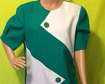 1980s Colorblock Puff Sleeve Dress, L