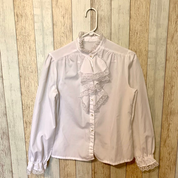 70s-does-Victorian High-Necked Blouse, S-M