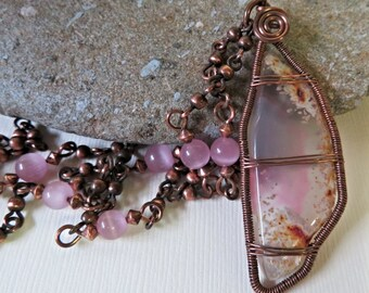 Pink Agate Slice Pendant, Wire Wrapped Pink Agate Necklace, Pink Glass Beads and Copper Chain Necklace, Pink Agate Jewelry, Gift for Her