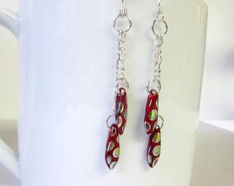 Necktie Earrings on Sterling Silver Chaing, Dangly Red and Silver Earrings, Red Polka Dot Earrings, Necktie Jewelry, Double Chain Dangles