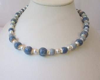 Blue Handpainted Wood Beads Strand Necklace, Blue and Sterling Silver Necklace, Wood Beads and Sandblasted Sterling Silver Beads Jewelry