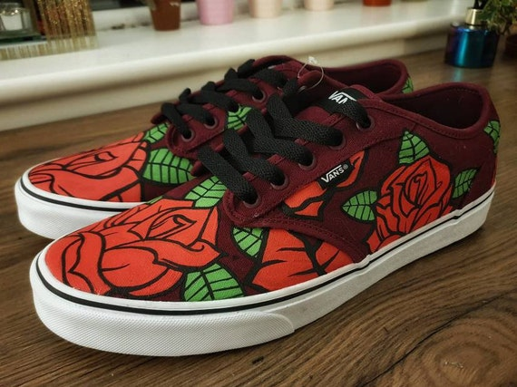 Hand Painted Rose Shoes Unique Gift