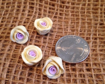 Polymer clay large yellow rose bead set