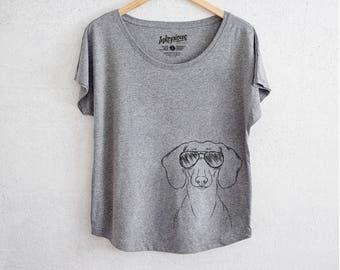 becb73cde395 Hans the Dachshund - Tri-Blend Dolman Grey - Dog Lover Gift, Weiner Dog
