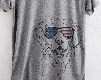 06be965a8da Toby the Golden Retriever - American Flag Aviators - Tri-Blend Unisex Crew  Grey