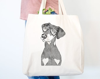 WEIMARANER embroidered tote bag ANY COLOR