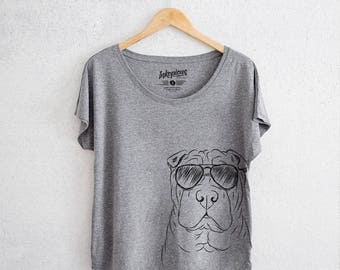 Sharpy the Shar Pei - Tri-Blend Dolman Grey - Dog Lover Gift, Dog Mama TShirt
