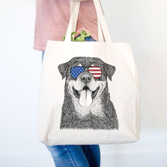 USA Dog Lover Gift Doggy Bag Koda the Husky Canvas Tote Bag USA Dog Tote
