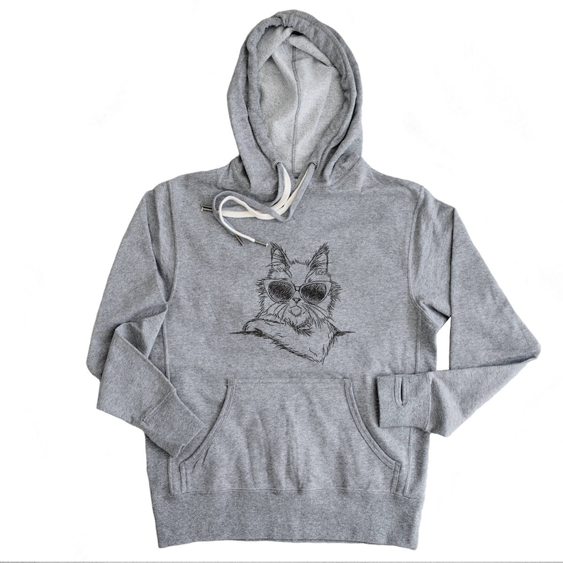 Ginger the Maine Coon Aviators Hoodie Grey French Terry Gifts For Cat Owners Cat Lover Kitty Sweatshirt Unisex Slim Fit