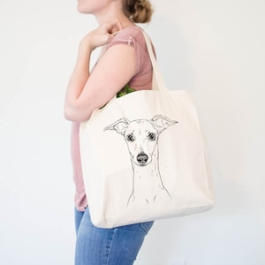 Archie the Silken Windhound Doggy Bag Canvas Tote Bag Dog Lover Gift Cool Dog Tote