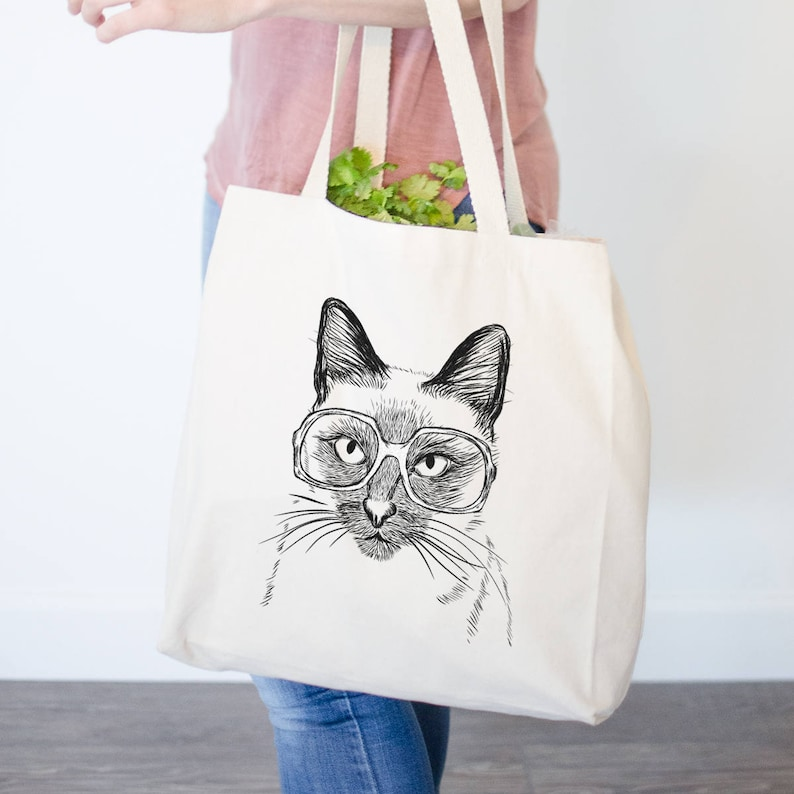 9b56ac6844 Sasha the Siamese Cat Tote Bag Gifts For Cat Owner Funny | Etsy