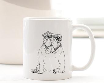 Tank English Bulldog Dog Mug - Gifts For Dog Owner, English Bulldog Lover, Bulldog Mug, Bulldog Art, English Bulldog Gift, Dressed Dog Art
