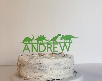 Dinosaur and name cake topper