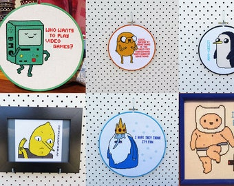 Any 3 Adventure Time Cross Stitch Patterns