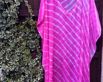 Kaftan • hand dyed • chiffon kaftan • pink kaftan • stripe kaftan • resortwear • holiday wear