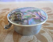 Pill Box - Ablaone - Silver - Beautiful Abalone Marked Made in Mexico - Marked Hecho (Made) in Mexico, Darling Piece, FREE SHIPPING