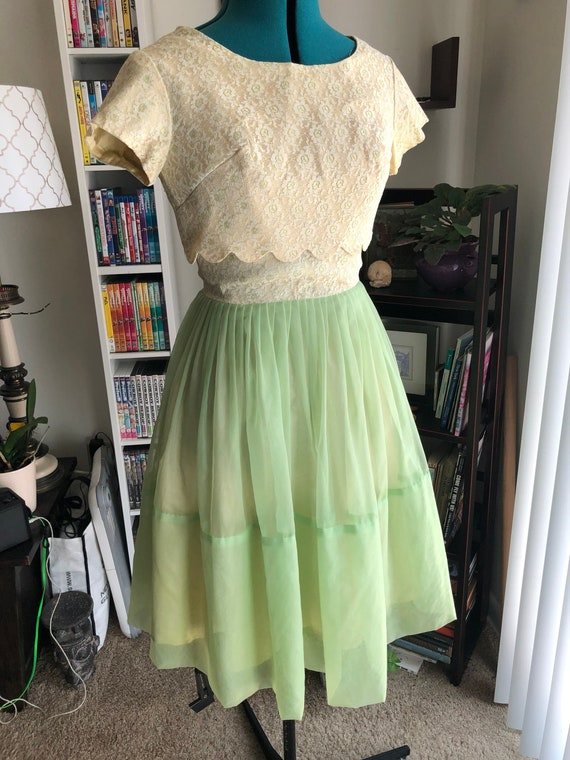 1950's Green and Yellow Prom Dress with Jacket