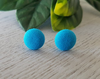 Blue Fabric Button Stud Earrings - Hypo-Allergenic Surgical Steel