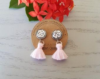 Silver Glitter Resin Button/Pink Cotton Tassel Earrings - Hypo-Allergenic