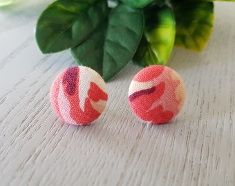 Pink Fabric Button Stud Earrings - Hypo-Allergenic Surgical Steel
