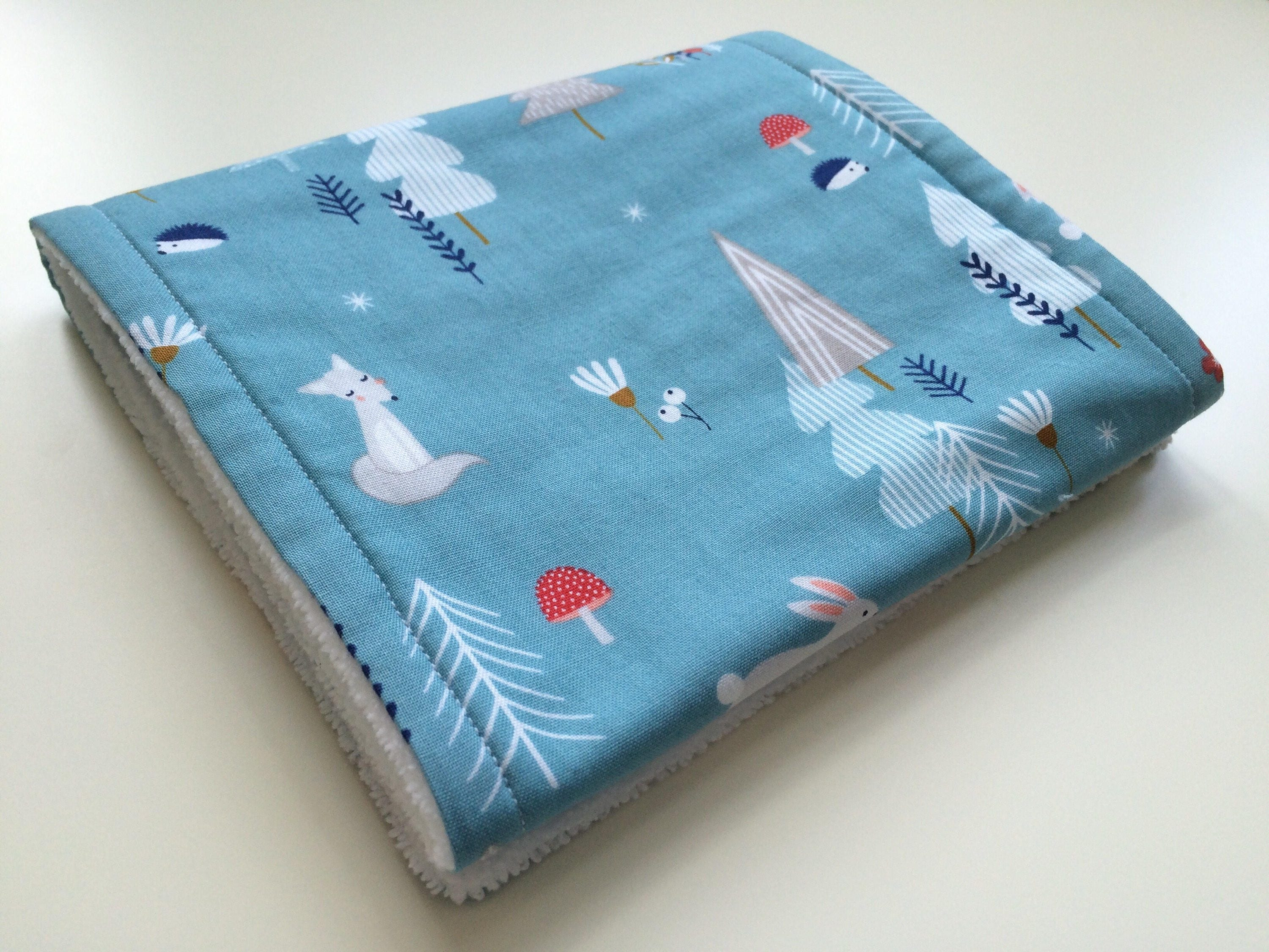Burp Cloths 3 Animal Print in Blues Toweling Backed GREAT GIFT IDEA!!