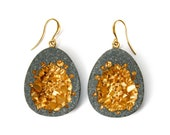 Leonora chunky statement dangle earrings made from concrete and gold pigments