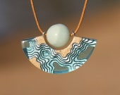 Reef necklace- Modern ark shaped pendant handmade from beach sand, aquamarine blue resin and Amazonite gemstone featuring topographic layers