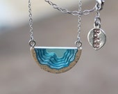 Inlet Pendant - Delicate beach necklace handmade from sand and aqua blue resin on a fine chain