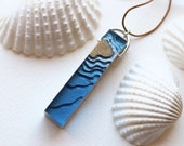 The Islet - Bar pendant beach necklace handmade from sand and blue resin