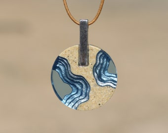 Isthmus Pendant - Dainty beach necklace with round pendant handmade from sand and blue resin on cord