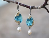 Bay Earrings - Leaf shaped dangle earrings handmade from beach sand and blue resin with freshwater pearls