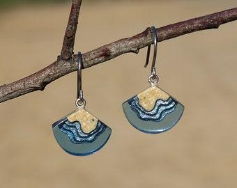 Bight Earrings - Dainty dangle beach earrings handmade from sand and ultramarine blue resin
