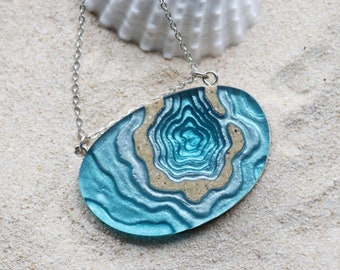 The Atoll - Contemporary beach necklace with pendant handmade from beach sand and aqua blue resin on fine chain