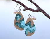 Rockpool earrings - Large tear drop dangle earrings made from beach sand, aquamarine blue resin and freshwater pearls on french hooks