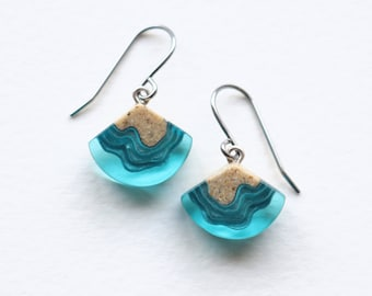 Bight dangle earrings - hand crafted from beach sand and aquamarine blue resin on stainless steel hooks
