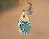 Cove Pendant - Dainty beach necklace handmade from sand and aqua blue resin on cord